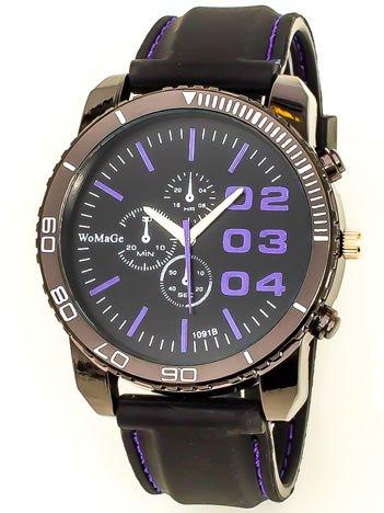 Czarny duży zegarek męski na silikonowym wygodnym pasku z fioletowymi wstawkami