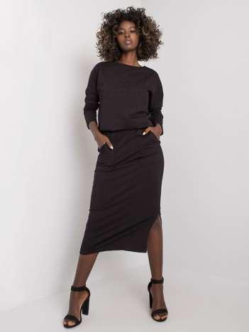 Czarny komplet bawełniany ze spódnicą Maite