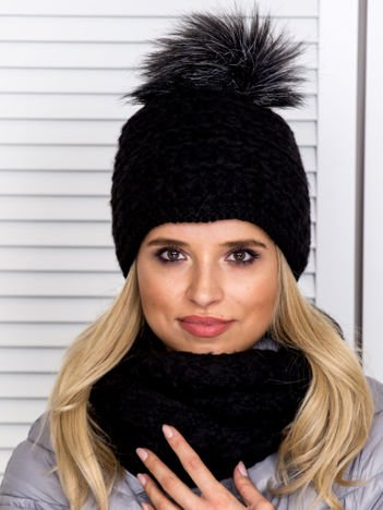 Czarny komplet damski czapka z pomponem i komin