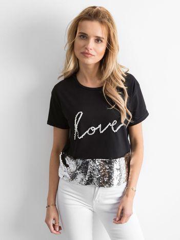 Czarny krótki t-shirt z cekinami