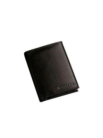 Czarny pionowy skórzany portfel męski