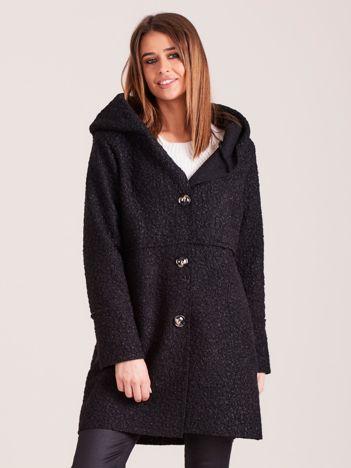 Czarny płaszcz boucle z kapturem