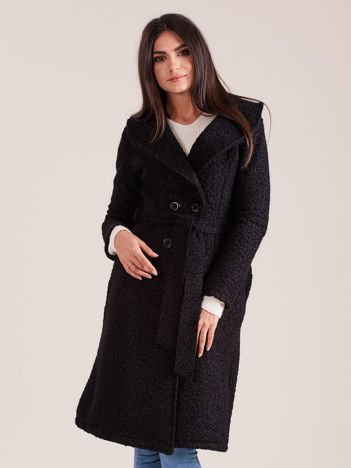Czarny płaszcz boucle z paskiem