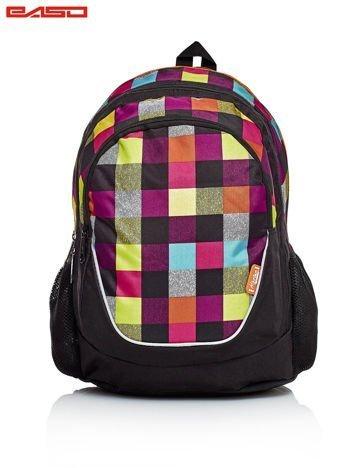 Czarny plecak szkolny w kolorową kratkę