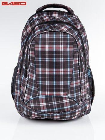 Czarny plecak szkolny w kratę