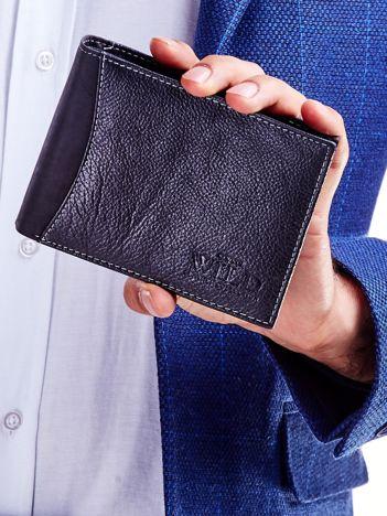Czarny portfel męski skórzany z łączonych materiałów