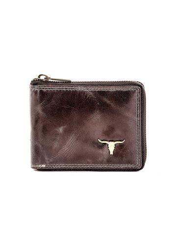 Czarny portfel ze skóry naturalnej z cieniowaniami