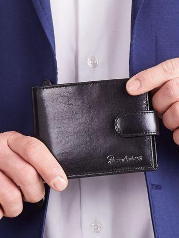 Czarny poziomy elegancki portfel dla mężczyzny