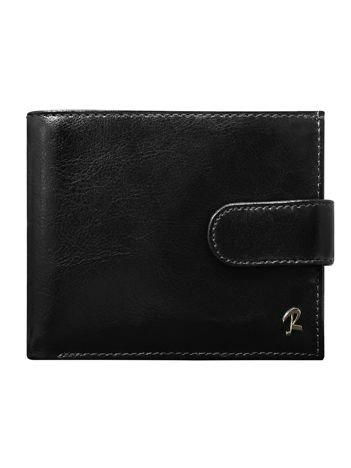Czarny skórzany portfel dla mężczyzny z zapięciem na napę