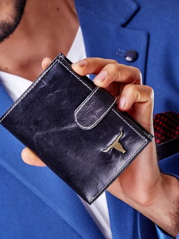 Czarny skórzany portfel męski z zapięciem na zatrzask