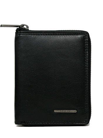 Czarny skórzany portfel męski zapinany na suwak