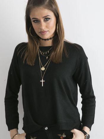 Czarny sweter damski z suwakiem