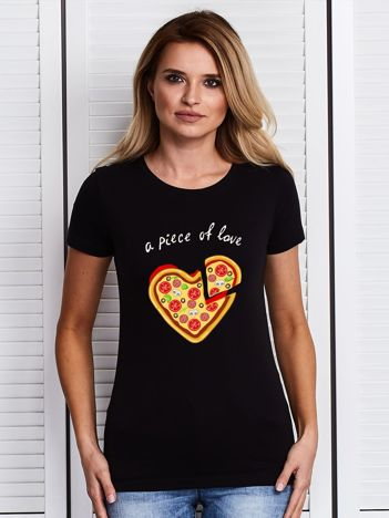 Czarny t-shirt A PIECE OF LOVE