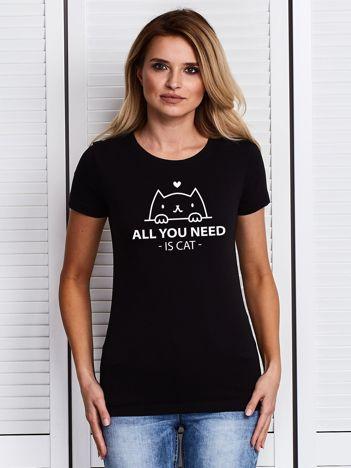Czarny t-shirt ALL YOU NEED IS CAT z kotkiem
