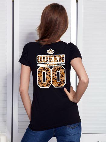 Czarny t-shirt QUEEN dla par