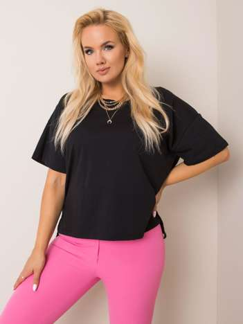 Czarny t-shirt plus size Juanita RUE PARIS