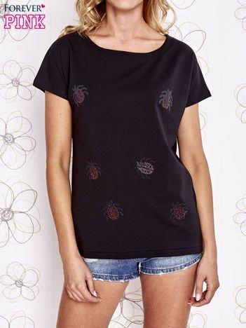 Czarny t-shirt z aplikacją owadów