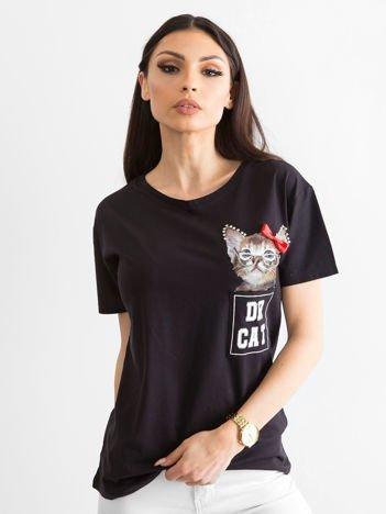 Czarny t-shirt z bawełny z aplikacją