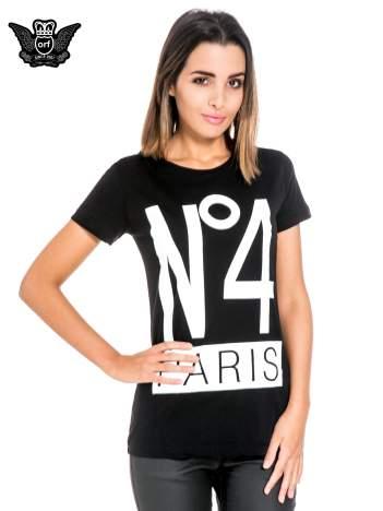 Czarny t-shirt z napisem NO. 4 PARIS