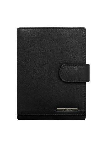Czarny zapinany portfel dla mężczyzny skórzany