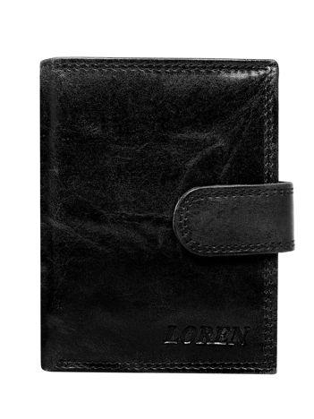 Czarny zapinany portfel męski ze skóry