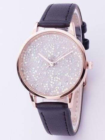 Czarny zegarek damski z cyrkoniami na tarczy
