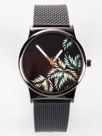 Czarny zegarek damski z wzorem palmy na tarczy