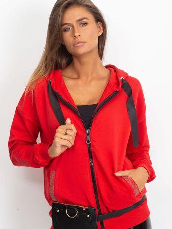 Czerwona bawełniana bluza na suwak