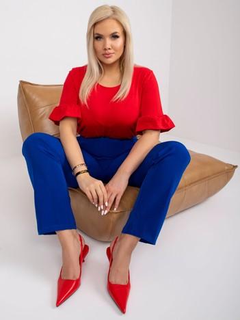 Czerwona bawełniana bluzka plus size Yareli