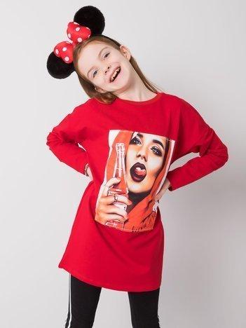Czerwona bawełniana tunika dla dziewczynki