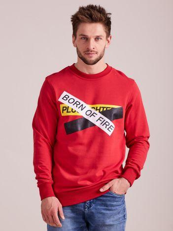 Czerwona bluza męska z printem