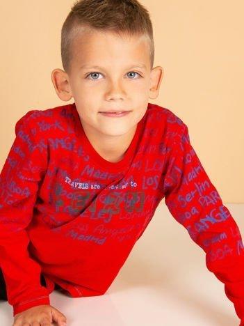Czerwona bluzka dziecięca z tekstowym nadrukiem