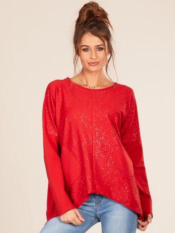 Czerwona bluzka oversize z kieszeniami