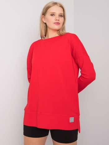 Czerwona gładka bluzka plus size Kalise