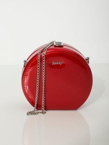 Czerwona okrągła torebka ze skóry