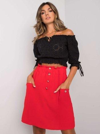 Czerwona spódnica z kieszeniami Cathi