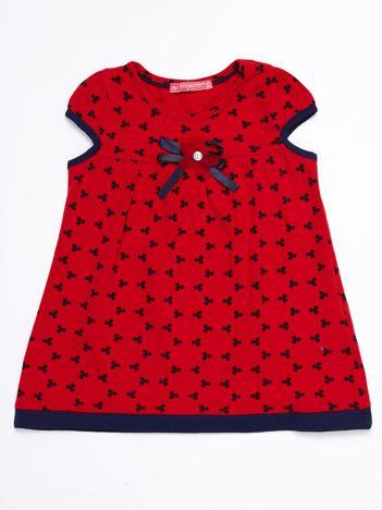 Czerwona sukienka dziecięca z nadrukiem all over