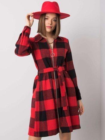 Czerwona sukienka w kratę Ambrosia