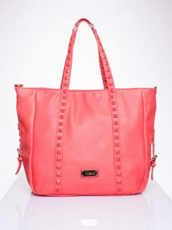 Czerwona torba shopper bag z kolorowymi ćwiekami