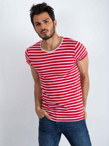 Czerwono-biała męska koszulka Jupiter