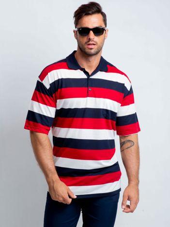 Czerwono-granatowa koszulka polo męska plus size Wind