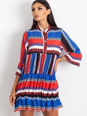 Czerwono-niebieska sukienka Blair