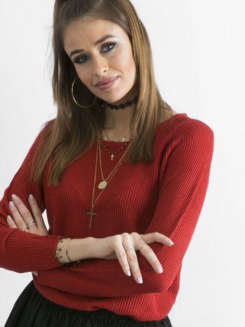 Czerwony damski sweter z dzianiny