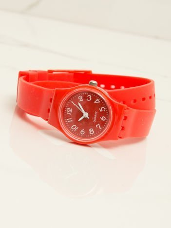 Czerwony mały silikonowy zegarek damski owijany wokół nadgarstka