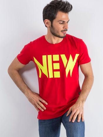 Czerwony męski t-shirt Public