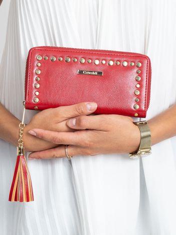 Czerwony podłużny portfel z ćwiekami