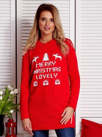 Czerwony sweter świąteczny MERRY CHRISTMAS