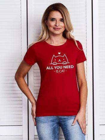 Czerwony t-shirt ALL YOU NEED IS CAT z kotkiem