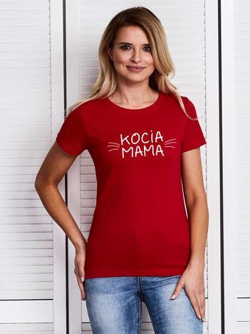 Czerwony t-shirt damski z nadrukiem KOCIA MAMA