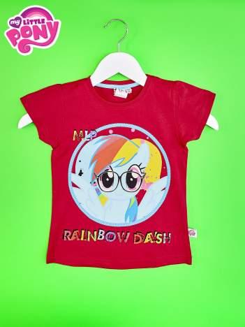 Czerwony t-shirt dla dziewczynki  motywem bajki MY LITTLE PONY